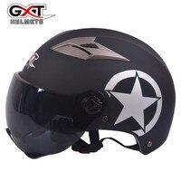 GXT Xe Máy Mũ Bảo Hiểm Unisex Nửa Khuôn Mặt Xe Máy Racing Helmet Máy Bay Phản Lực Xe Máy Mũ Bảo Hiểm Vintage cho Nam Giới Sao Đội Mũ Bảo Hiểm