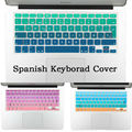 EU UK Spanish Gradual change color silicon keyboard cover for macbook air 13 wireless keyboard pro 15 retina 17 inch protector