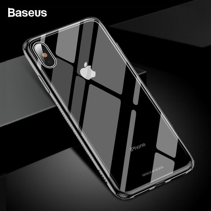 Caixa De Vidro Para o iphone XS Max Xr Xsmax Baseus Luxo TPU Casos Capa Protetora de Vidro Temperado Borda Coque Para iPhonexs max Fundas
