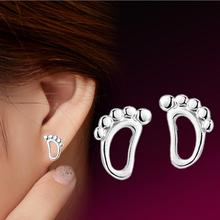 2017 promotion lovely little baby feet 925 sterling silver ladies`stud earrings jewelry drop shipping