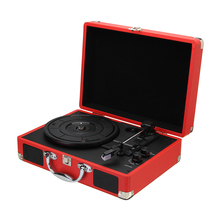 Vintage 33/45/78 RPM Bluetooth Portable Suitcase Turntable Vinyl LP Record Phone Player 3-Speed Aux-in Line-out 100-240V