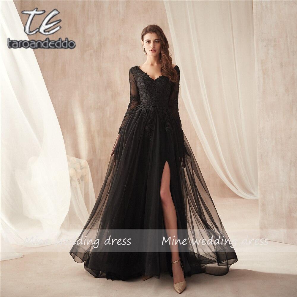 V ネックブラックレースアップリケロングスリーブフロントスリットウエディングドレスエレガントなオープンバックスイープトレインイブニングドレス vestidos formatura  グループ上の ウェディング & イベント からの プロムドレス の中 1
