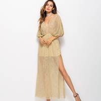 Women Shiny Sexy See Through Maxi Dress 2018 Elegant Deep V neck Half Sleeve Long Dress Autumn Summer Laides Evening Party Dress