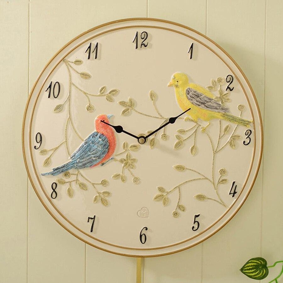 Safe Resin Silent Birds Wall Clock Art Creative Simple Wall Watch ...