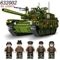 AIBOULL PLS Wojskowy 632002 1339 sztuk TYPU 99 Główna Czołg Klocki Klocki oświecić zabawki dla dzieci Kompatybilny LEPIG