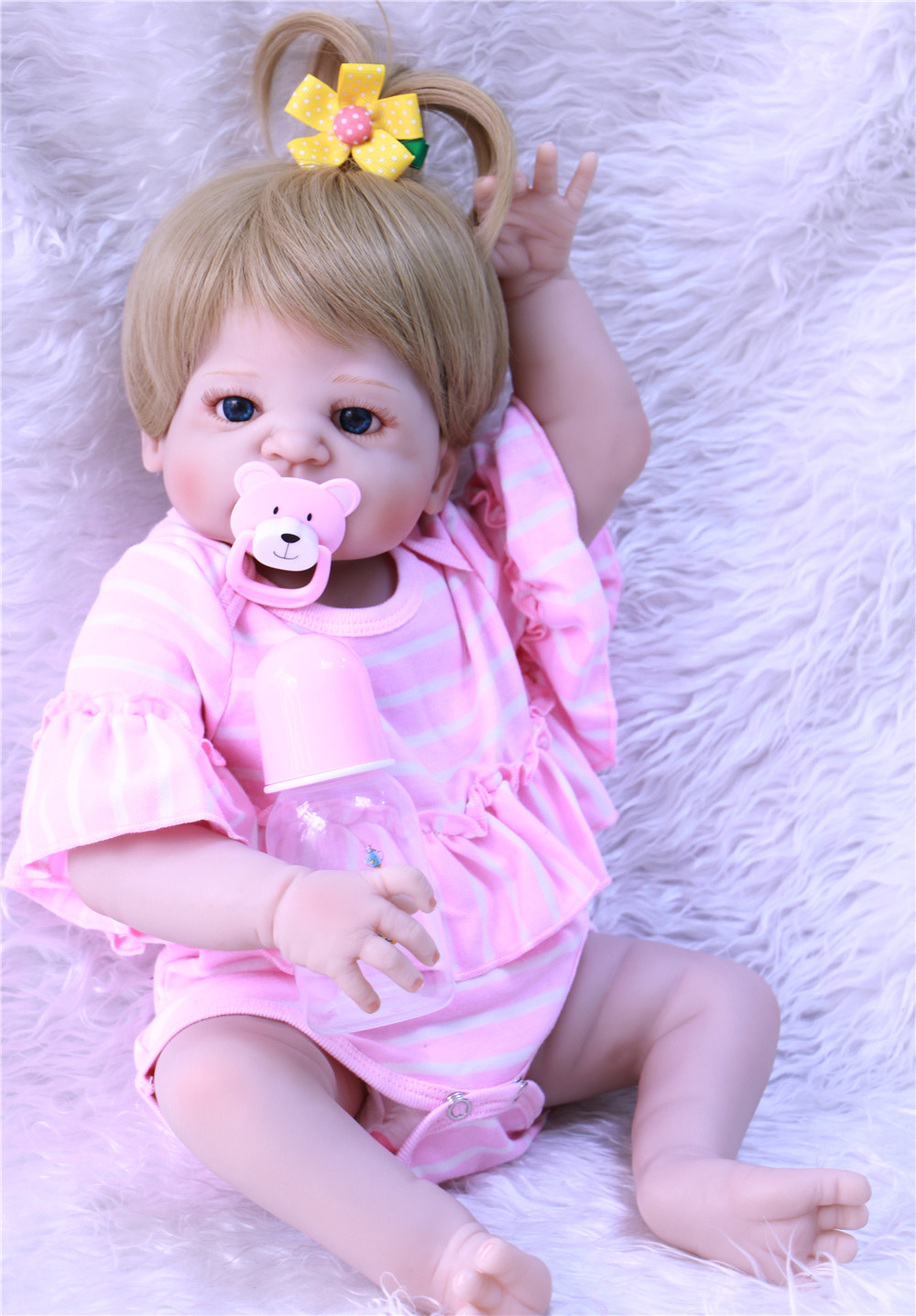 girl bebe reborn Soft Silicone Reborn Dolls menina de silicone menina 55cm Baby Doll Reborn 22 Inch Full Vinyl Boneca Doll new style girl dolls full silicone reborn dolls with beautiful dress adora dolls bebe reborn de silicone menica
