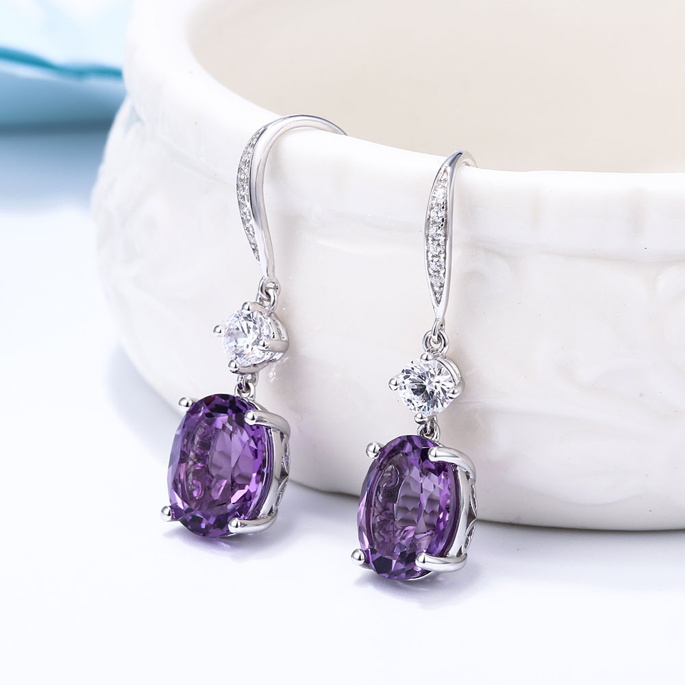 DOUBLE-R 4.95ct Asli Amethyst Alami 925 Sterling Silver Drop Earrings - Perhiasan bagus - Foto 4
