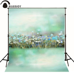 Image 2 - Allenjoy 사진 봄 배경 퍼지 녹색 유화 꽃 bokeh 배경 사진 스튜디오 아기 촬영 photocall