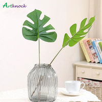 20Pcs Vivid Plastic Artificial Palm tree Monstera leaf greenery plants flores Home wedding decoration fake Flowers plant Leaves