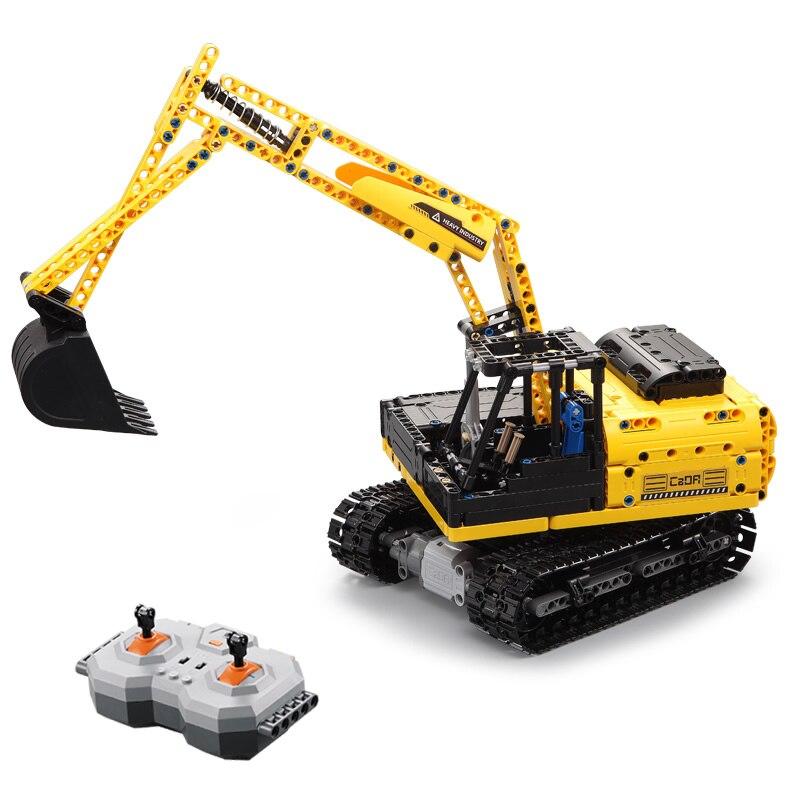 544 stücke Stadt Bau Fahrzeuge Bausteine Gesetzt Engineering RC Bagger Modell Fernbedienung Lkw Erleuchten Ziegel Spielzeug-in Sperren aus Spielzeug und Hobbys bei  Gruppe 3