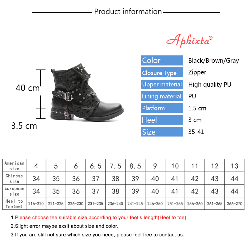 Aphixta 2018 New Rivets Ankle Boots For Women Zip Vintage Buckle Round Toe Leather Shoes Square High Heels Ladies Shoes Women in Ankle Boots from Shoes