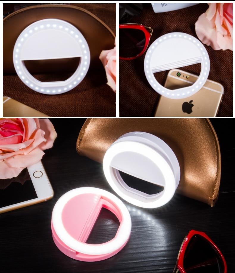 Fashion LED Photography Flash Light Up Selfie Luminous Lamp Night Phone Ring For iPhone 7 plus 6 6S Plus 5s 5C Xiaomi LG Samsung