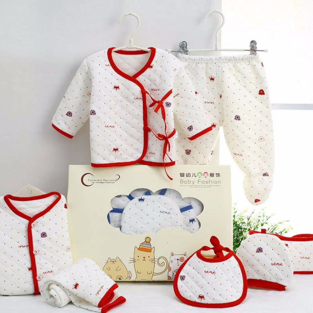 Tender Babies 2018 7PiecesNewborn Baby Clothing Set  gift 100% Cotton For Spring & Autumn Toddler Suits For 0-3M