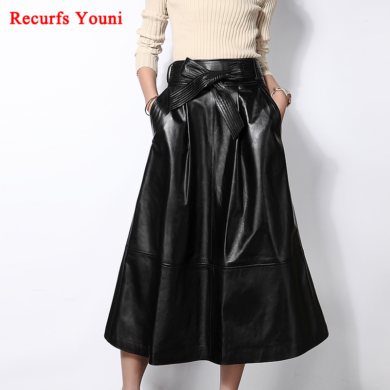 RYS5332 Women 2018 Spring Luxury Genuine Leather Long Maxi Skirt Female Expansion Bottom Pocket Belt Bow Black Fashion Faldas