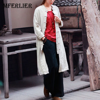 Autumn Shirts Women Solid Vintage Plate Buckle Open Stitch Strand Collar Single Breasted Split Cotton Linen