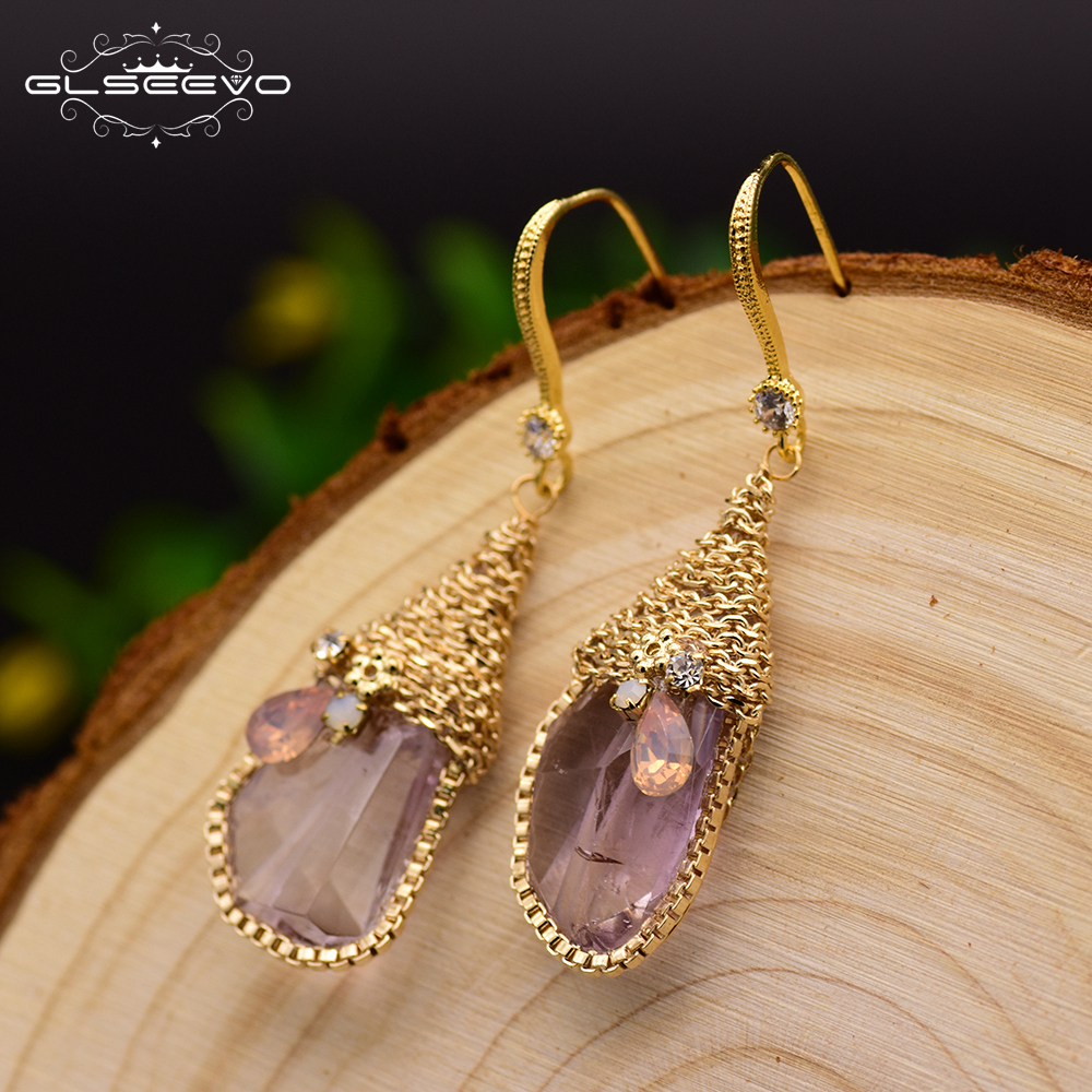 GLSEEVO Natural Ore Pink Crystal Dangle Earrings Hook Women Handmade Luxury Jewelry Boucles D'Oreilles Pour Les Femmes GE0313