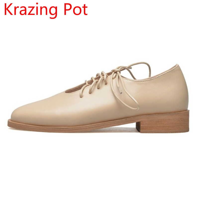 New Arrivel Genuine Leather Autumn Shoes Woman Round Toe Lace Up Thick Heel Elegant Office Lady Causal Handmade Women Pumps L29 hxrzyz spring autumn new shoes woman ladies leather thick heel fashion style shoes lace up rubber bottom women shoes black pumps