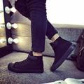 2017 для мужчин холст обувь весной и осенью мужчины Высокого верха чистый черный классический повседневная обувь размер обуви 40-44 плоские мужчины обувь