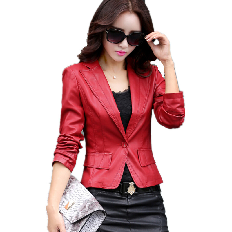 new arrive   leather   blazer female 2018 spring women's   leather   jacket ladies clothing fashion short   leather   coats plus size 4XL