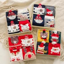 4 пар/лот Новая мода зима хлопок 3D Рождество мультфильм носки с животными/Рождество носок цвет упаковка коробки