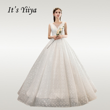 Its YiiYa Wedding Dress Elegant V-neck Beading Floor Lengh Dresses Free Shipping Sleeveless Lace Vestido de novia HS755