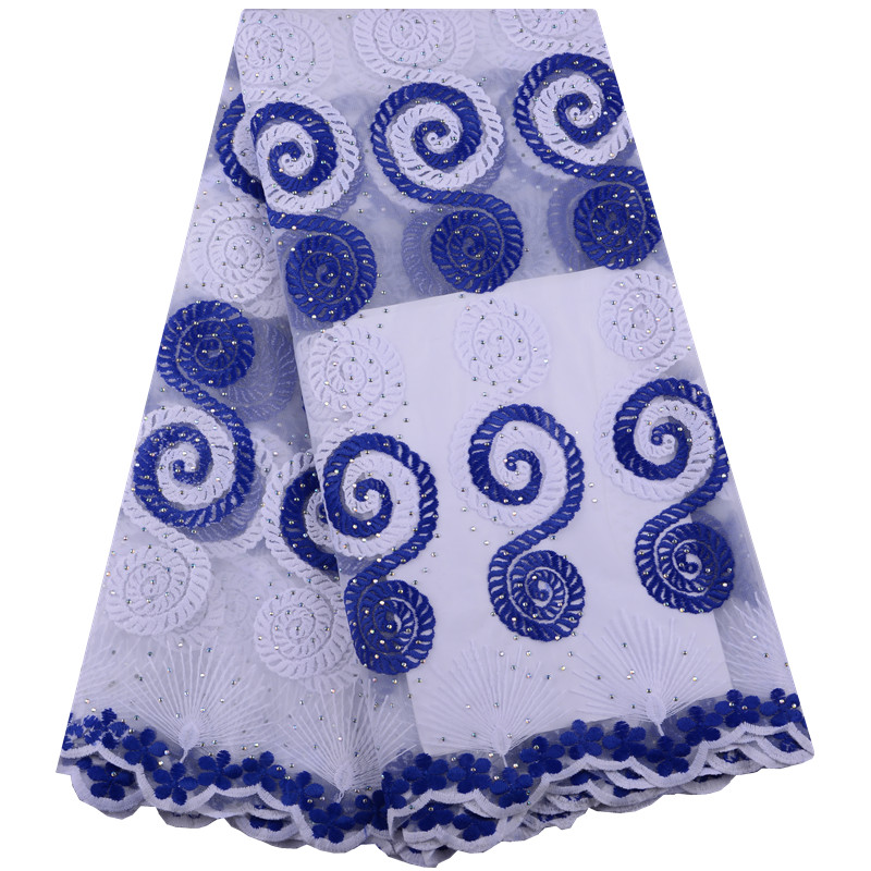 White Blue Water Soluble Milk Silk Lace Fabric African Cord Lace Embroidered Guipure Lace With Stones