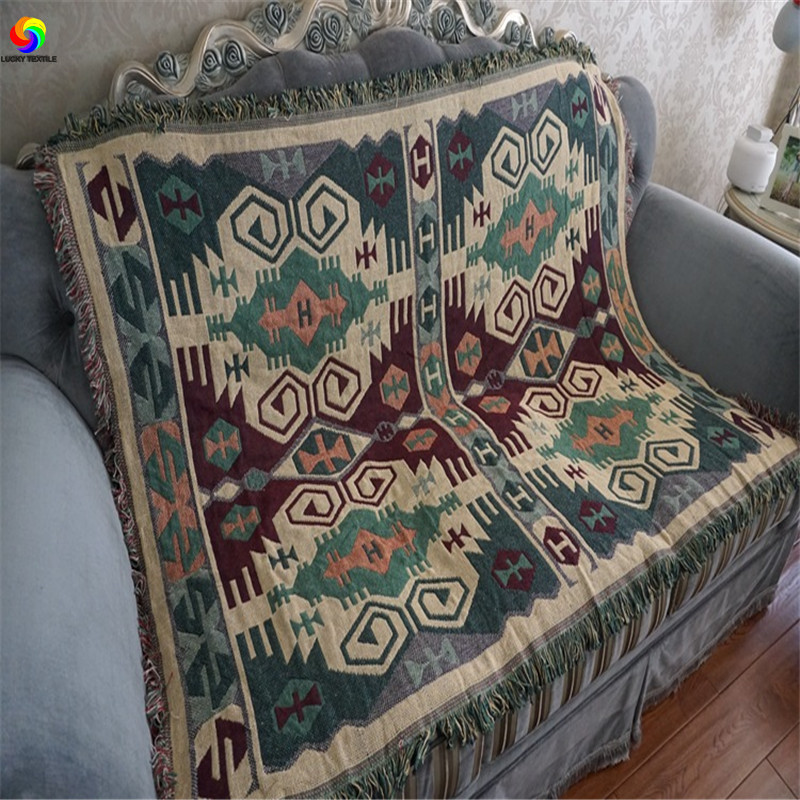LUCKY TEXTILE Cotton Geometric Blanket Tapestry 130*180cm Soft Carpet Throw  Table Sofa Floor Cover Green Bedspread Multifunction