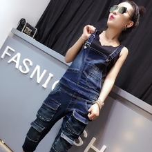 Wash Denim Overall Jeans Women Cute Wear Vintage Sleeveless with Pockets Jumpsuits Autumn Spring Women Denim