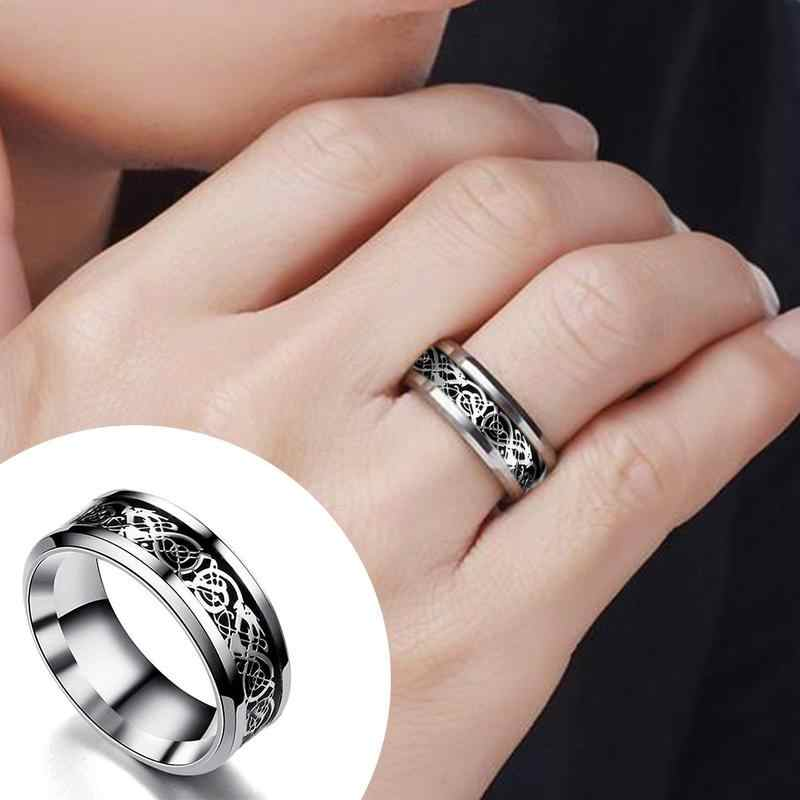 Nieuwe Collectie Mannen Hollow Draak Carving Titanium Wedding Band Ring Draak Carving Vinger Ring Mode-sieraden Top Kwaliteit