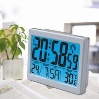 RF RCC Radio Controlled Digital Alarm Clocks Temperature Humidity Backlight German RC Clock Lcd Display, Radio Frequency 77.5kHz