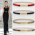 Metal fashion brief all-match genuine leather thin belt female decoration strap one-piece dress sweater accessories for white