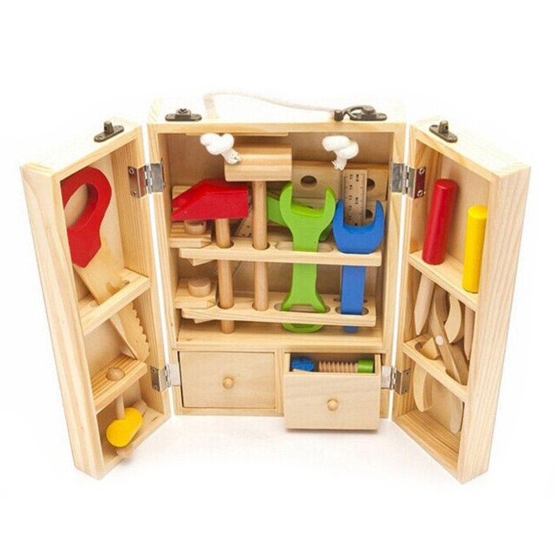 где купить Educational Building Tool Kits Set Kids Baby Early Learning Wooden Toy Model MWZ Wood Repair Tools Kids Pretend Play Toys по лучшей цене