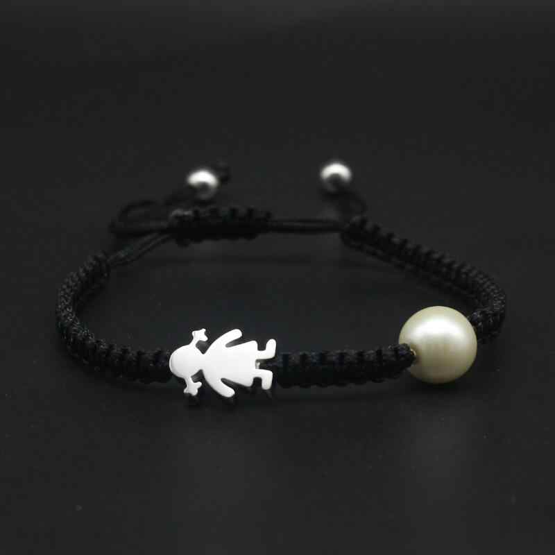 Cute Bear Brand Women Bracelet Stainless Steel Little Girl Imitation Pearls Red Black Rope Braided Bracelets For Women Jewelry