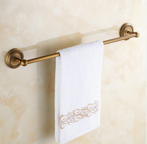 Wall Mounted Single Towel Bar Antique Brass Finish Towel Holder Bathroom Accessories ,Towel Rack okaros bathroom double towel bar 60cm towel rack towel holder solid brass golden chrome plating bathroom accessories