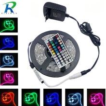 RiRi будет RGB 5050 светодио дный SMD светодиодные ленты свет гибкая fita de 4 м 5 10 м 15 м светодиодная rgb—лента Диодная подача Тирас AC мощность DC 12 В Комплект