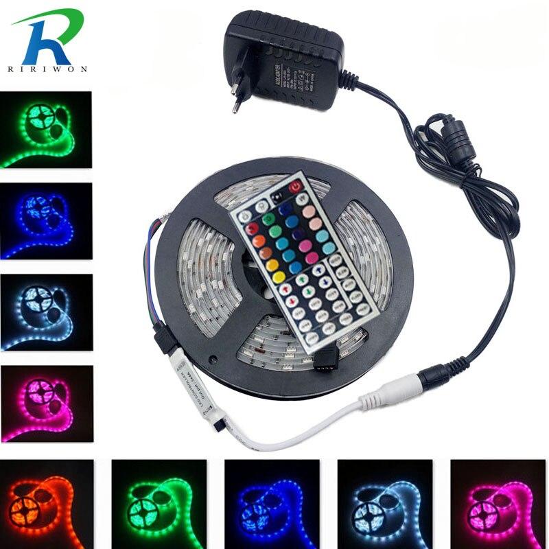 RiRi won RGB 5050 SMD Led tira de luz Flexible fita de 4 m 5 m 10 m 15 M led RGB cinta diodo alimentación tiras cinta AC potencia DC 12 V Set
