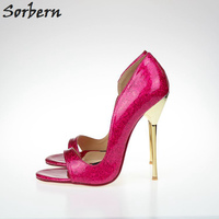 Sorbern Unisex Fetish Pump 13Cm Metal Stilettos Shoes Gold/Silver Evening Party Night Club High Heels Foot Wear Plus Size 40 47