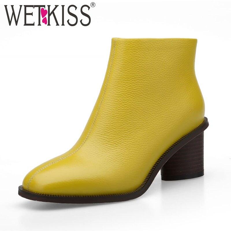 Wetkiss 우드 하이힐 여성 부츠 스퀘어 발가락 지퍼 신발 암소 가죽 여성 부츠 슈즈 여성 2018 new black winter yellolw-에서앵클 부츠부터 신발 의  그룹 1
