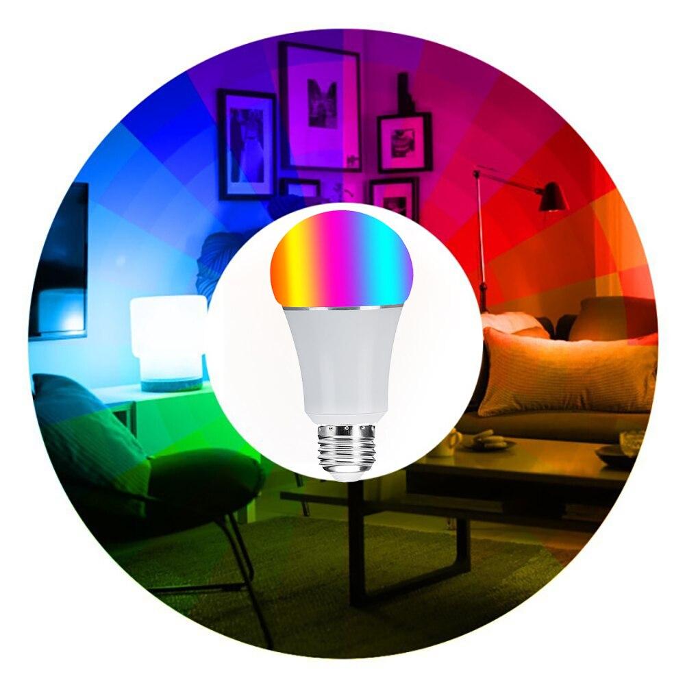 Ampoule Led intelligente Wifi, E27 E26 B22 16 millions de lampe de scène de couleur blanche rvb Compatible avec le contrôle d'application de téléphone domestique Alexa Google - 4