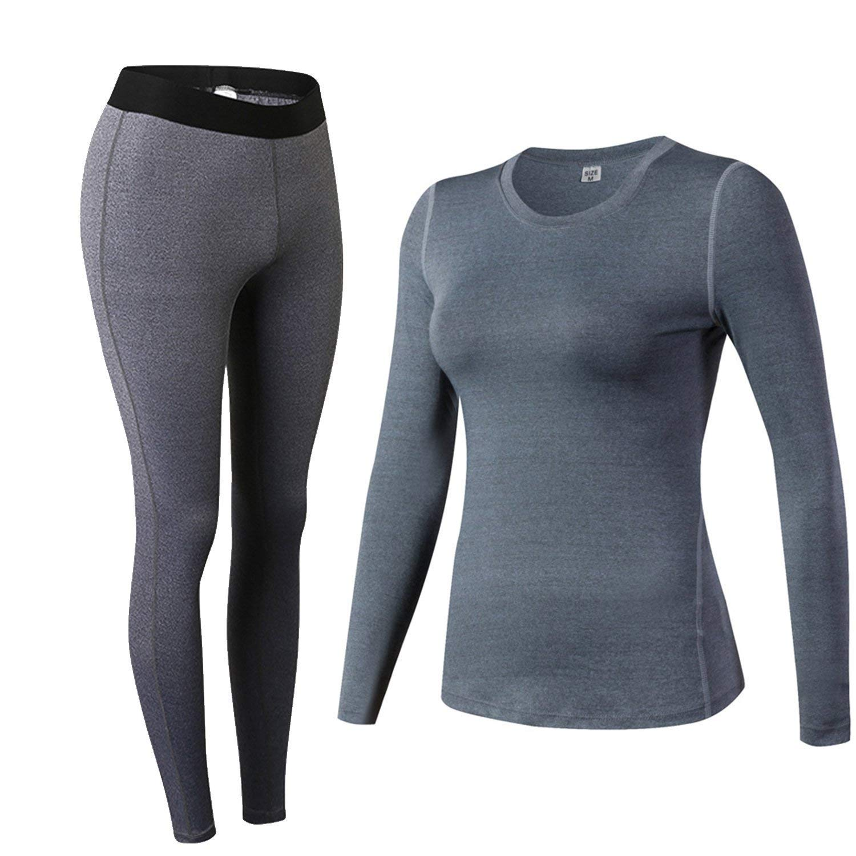 Minghe Women s Compression Long Johns Moisture Wicking Tops Shirt Bottom Tights