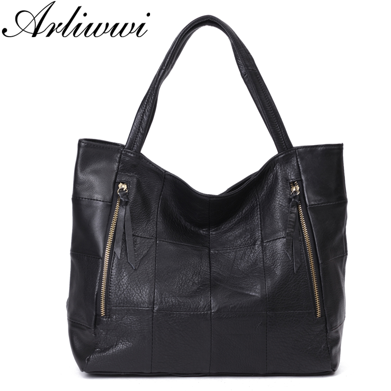 Arliwwi Brand Top Quality Extra Soft Real Cow Leather Big Capacity Women Shoulder Bags Genuine Cowhide Black Patches Totes-in Shoulder Bags from Luggage & Bags    1