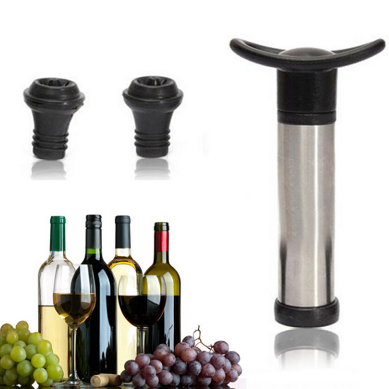 New Reusable Wine Bottle Vacuum Saver Sealer Preserver Pump With 2 Stopper For Bar Tools