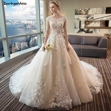 Robe De Mariee Luxury Lace Applique Puffy Wedding Gowns Long Train Ball Gown Champagne Dress 2019 3D Flower Bridal