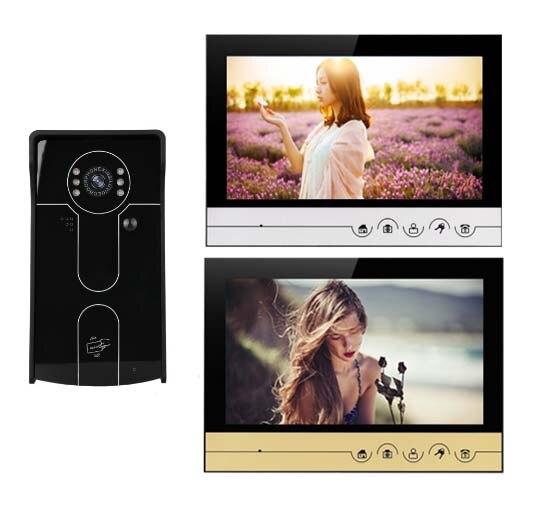 XINSILU 9 Video Door Phone Touch Key Monitor w/t SD Card Slot IR FRID Camera, Intercom Doorbell Home Security Video System 1V1