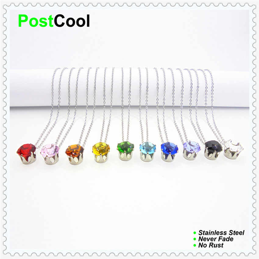 PostCool 10 different colors width 10mm simulated diamonds crystal pendant fine Stainless Steel chain Clavicle Pendant Necklace