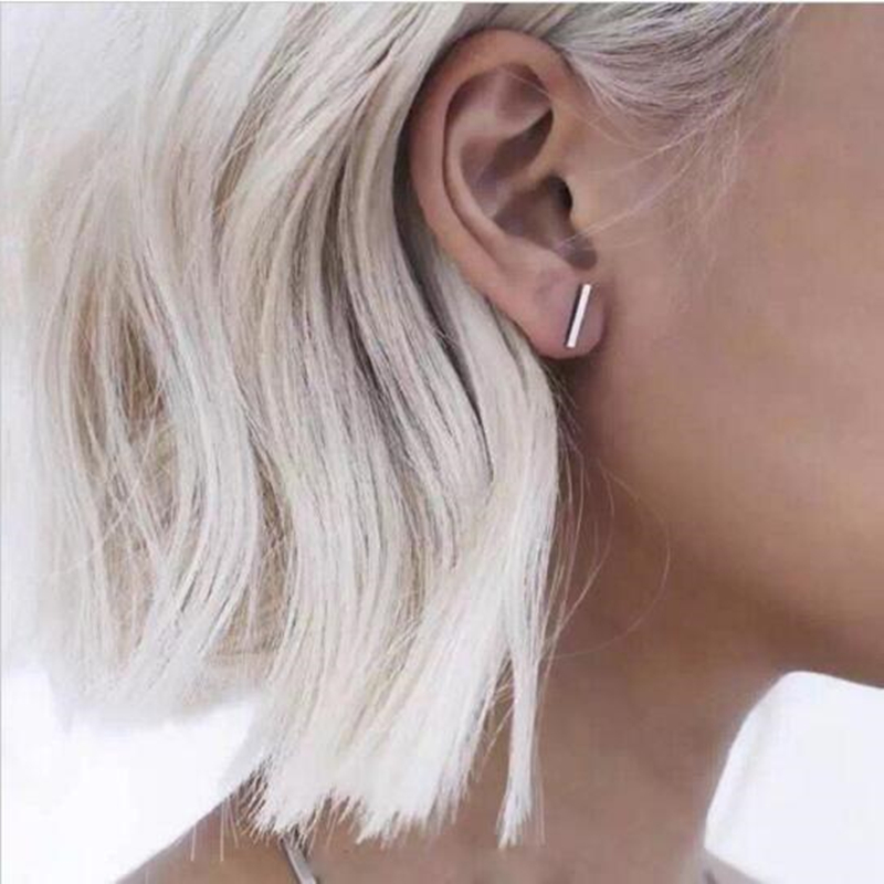 Punk Black Gold Silver Earrings Simple T Bar Earring Women Girl Ear Stud Ea..