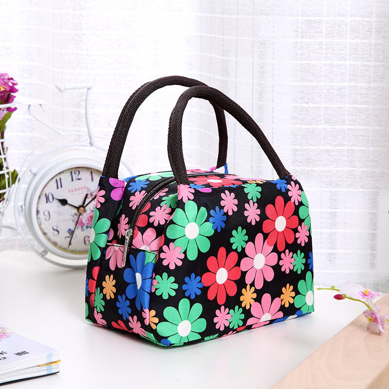 Leisure Women Portable Lunch Box Insulated Canvas Lunch Bag Thermal Food Picnic Lunch Bags For Women Kids Lunch Box Bag Tote