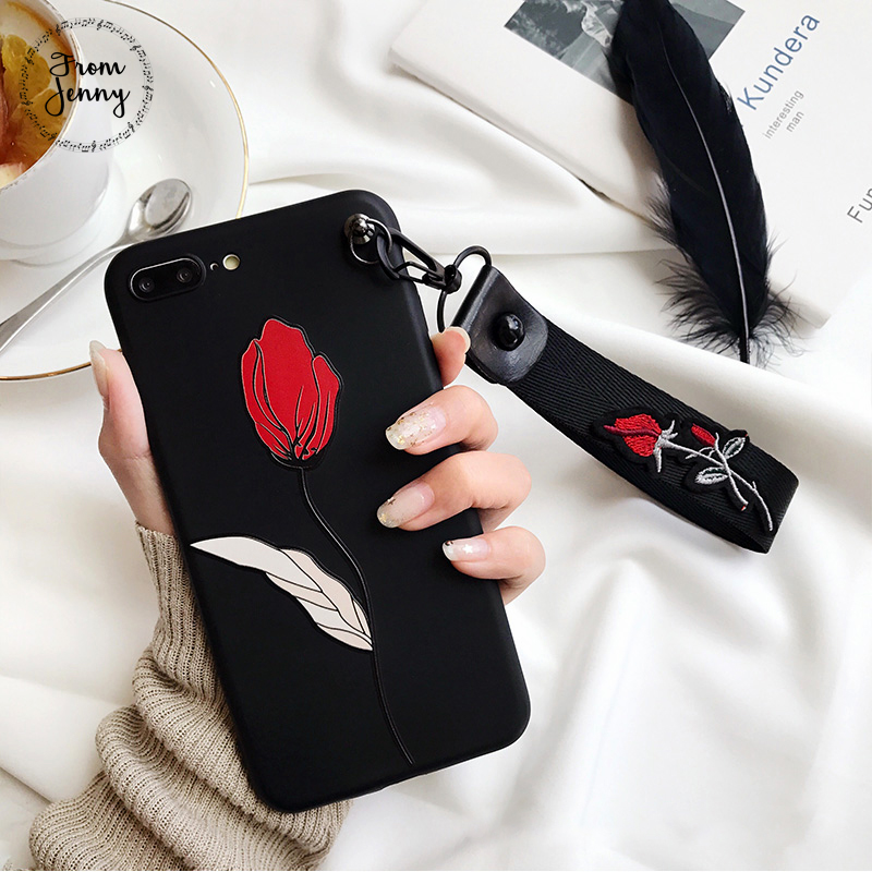 2017 Embroidery Flower Rose Strap Case For iPhone 7 7plus 6splus 6 6s 6plus with Wrist Japanese Style New