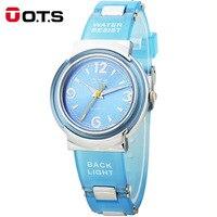 OTS Children's Watches Kids Quartz Watch Student Girls Quartz watch Cute Colorful Silicone Cartoon waterproof 50M Casual Horloge