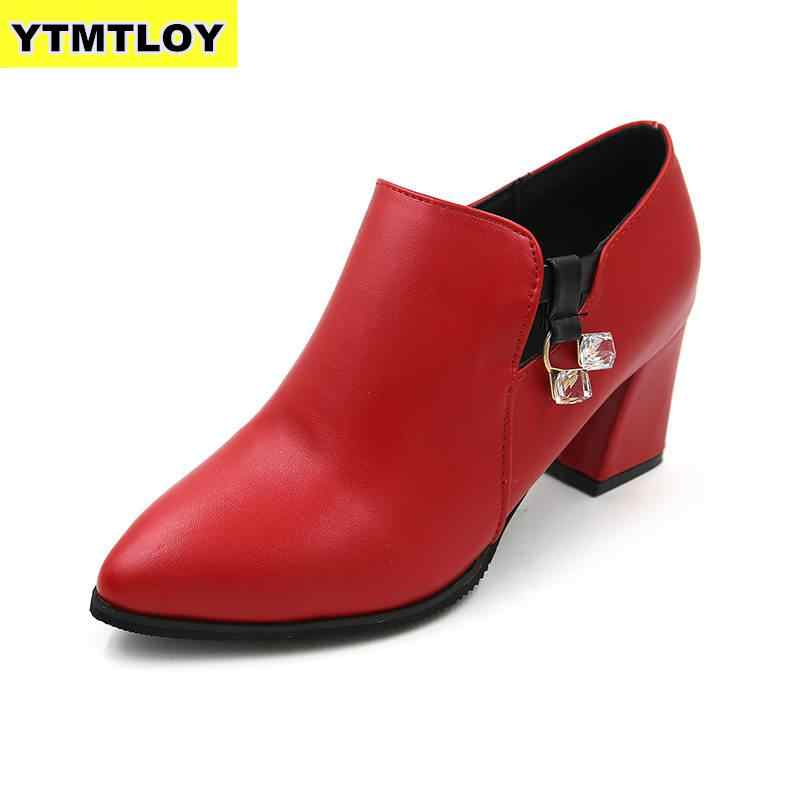 חם חדש סתיו חורף נשים נעליים נשי רוכסן צד הבוהן מחודדת מגפי קרסול מגפי וינטג אופנה מרטין Zapatos De Mujer